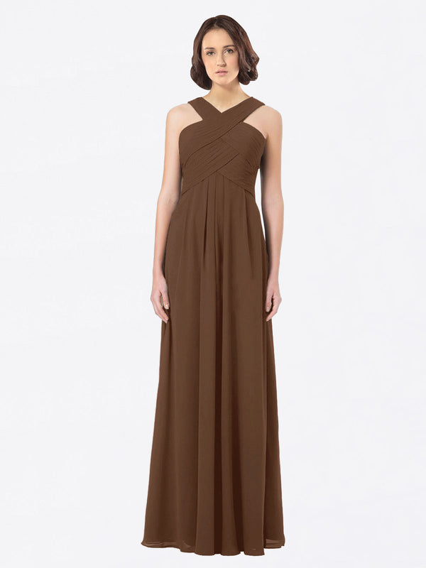 Long A-Line Off The Shoulder Sweetheart Sleeveless Brown Chiffon Bridesmaid Dress Claire