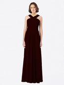 Long A-Line Off The Shoulder Sweetheart Sleeveless Burgundy Gold Chiffon Bridesmaid Dress Claire