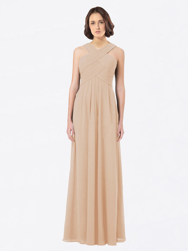 Long A-Line Off The Shoulder Sweetheart Sleeveless Champagne Chiffon Bridesmaid Dress Claire
