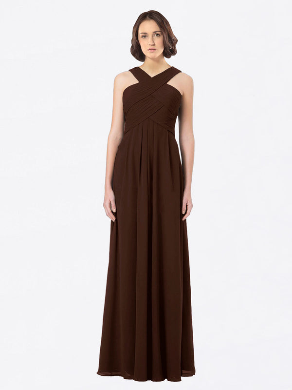 Long A-Line Off The Shoulder Sweetheart Sleeveless Chocolate Chiffon Bridesmaid Dress Claire