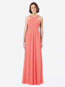 Long A-Line Off The Shoulder Sweetheart Sleeveless Coral Chiffon Bridesmaid Dress Claire