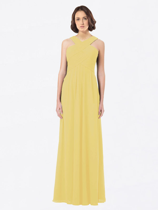 Long A-Line Off The Shoulder Sweetheart Sleeveless Daffodil Chiffon Bridesmaid Dress Claire