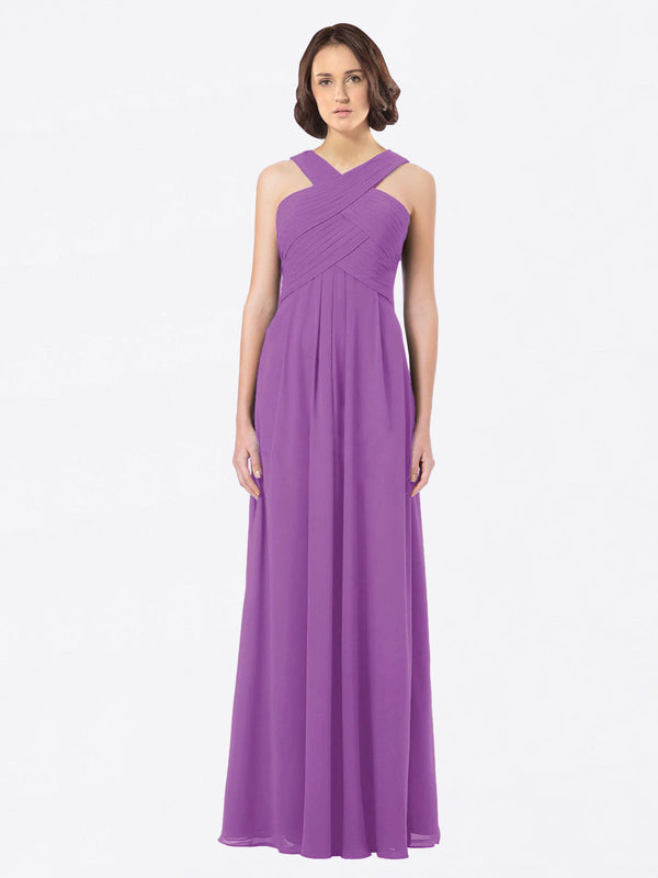 Long A-Line Off The Shoulder Sweetheart Sleeveless Dahlia Chiffon Bridesmaid Dress Claire