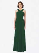 Long A-Line Off The Shoulder Sweetheart Sleeveless Dark Green Chiffon Bridesmaid Dress Claire