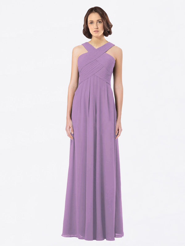 Long A-Line Off The Shoulder Sweetheart Sleeveless Dark Lavender Chiffon Bridesmaid Dress Claire