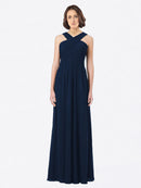 Long A-Line Off The Shoulder Sweetheart Sleeveless Dark Navy Chiffon Bridesmaid Dress Claire