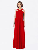 Long A-Line Off The Shoulder Sweetheart Sleeveless Dark Red Chiffon Bridesmaid Dress Claire