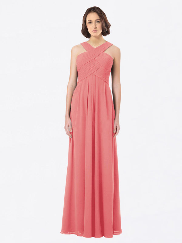 Long A-Line Off The Shoulder Sweetheart Sleeveless Desert Rose Chiffon Bridesmaid Dress Claire
