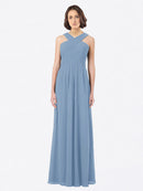 Long A-Line Off The Shoulder Sweetheart Sleeveless Dusty Blue Chiffon Bridesmaid Dress Claire