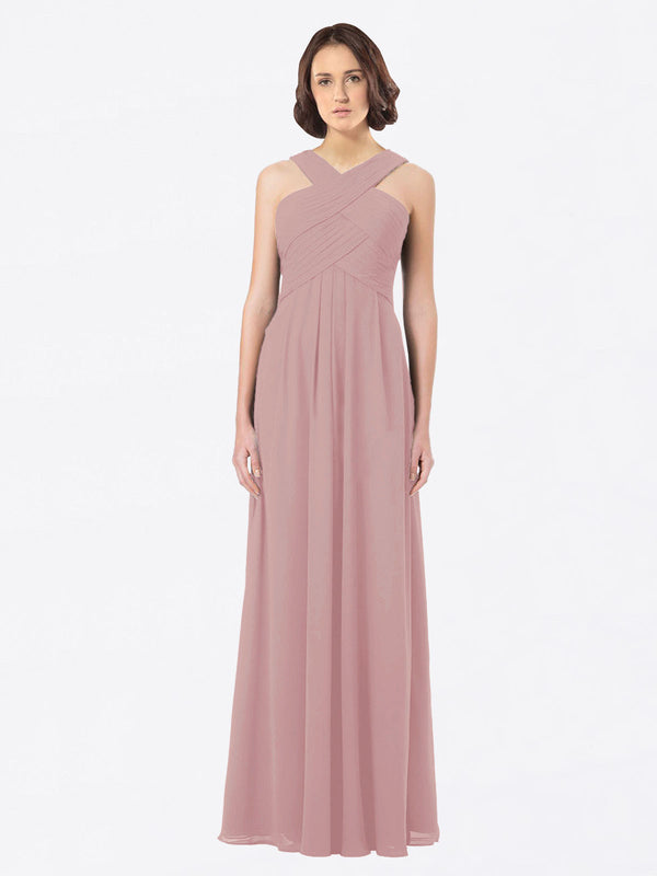 Long A-Line Off The Shoulder Sweetheart Sleeveless Dusty Pink Chiffon Bridesmaid Dress Claire