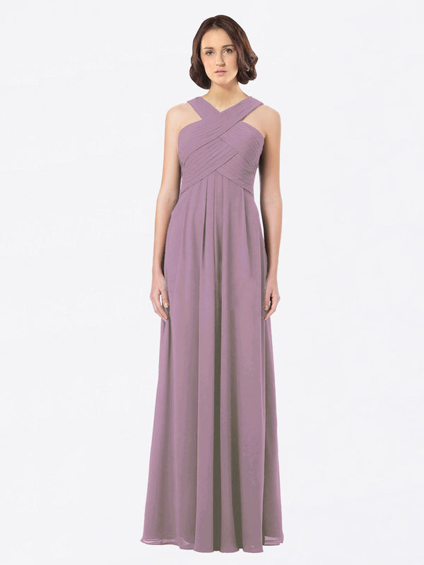 Long A-Line Off The Shoulder Sweetheart Sleeveless Dusty Rose Chiffon Bridesmaid Dress Claire
