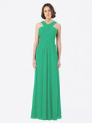 Long A-Line Off The Shoulder Sweetheart Sleeveless Emerald Green Chiffon Bridesmaid Dress Claire