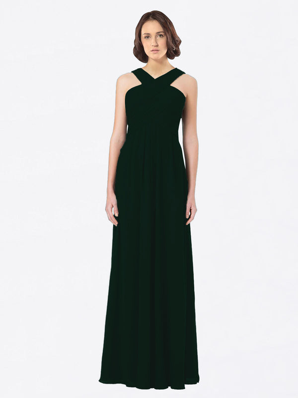 Long A-Line Off The Shoulder Sweetheart Sleeveless Ever Green Chiffon Bridesmaid Dress Claire