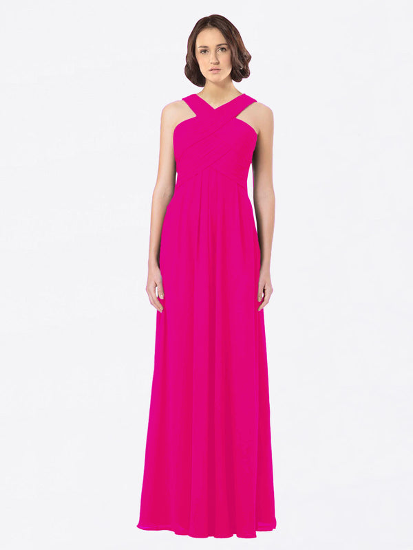 Long A-Line Off The Shoulder Sweetheart Sleeveless Fuchsia Chiffon Bridesmaid Dress Claire