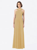 Long A-Line Off The Shoulder Sweetheart Sleeveless Gold Chiffon Bridesmaid Dress Claire