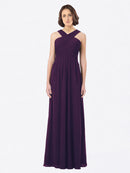 Long A-Line Off The Shoulder Sweetheart Sleeveless Grape Chiffon Bridesmaid Dress Claire