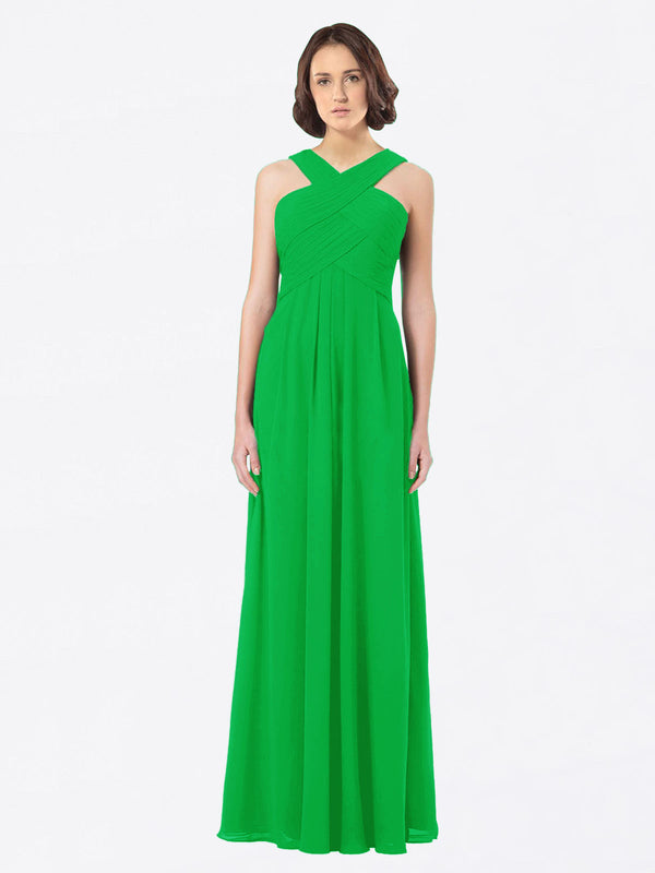 Long A-Line Off The Shoulder Sweetheart Sleeveless Green Chiffon Bridesmaid Dress Claire