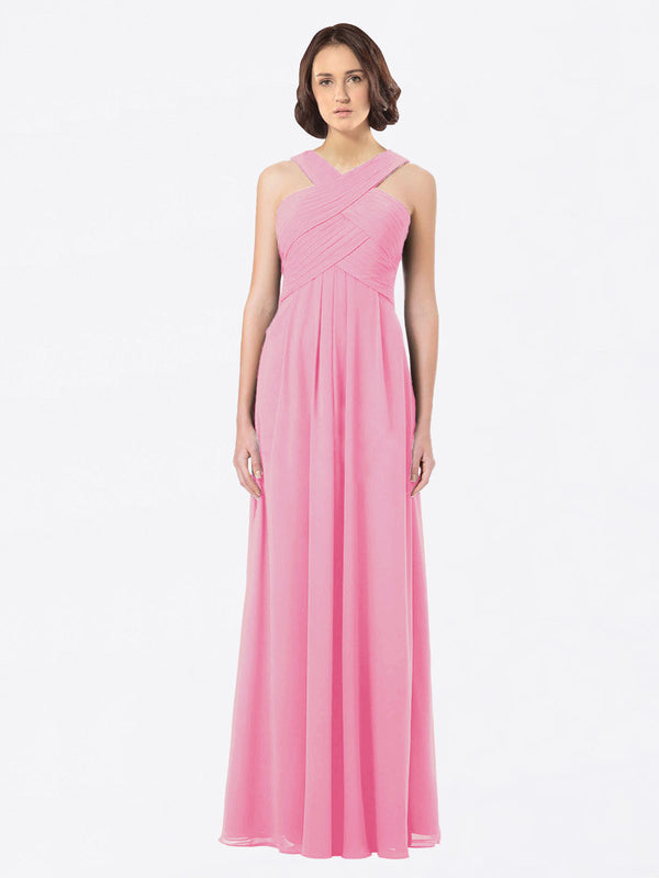 Long A-Line Off The Shoulder Sweetheart Sleeveless Hot Pink Chiffon Bridesmaid Dress Claire