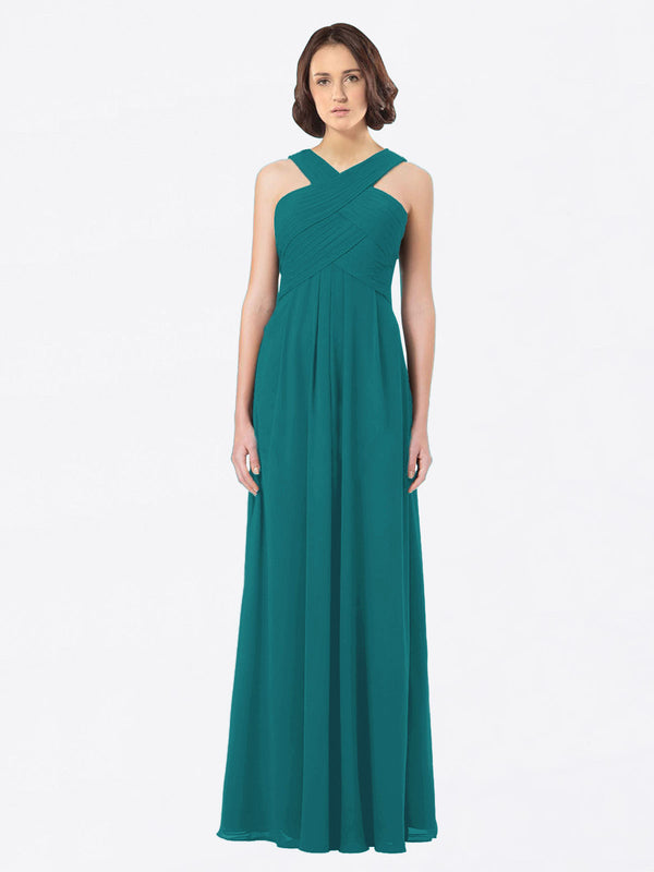 Long A-Line Off The Shoulder Sweetheart Sleeveless Hunter Chiffon Bridesmaid Dress Claire