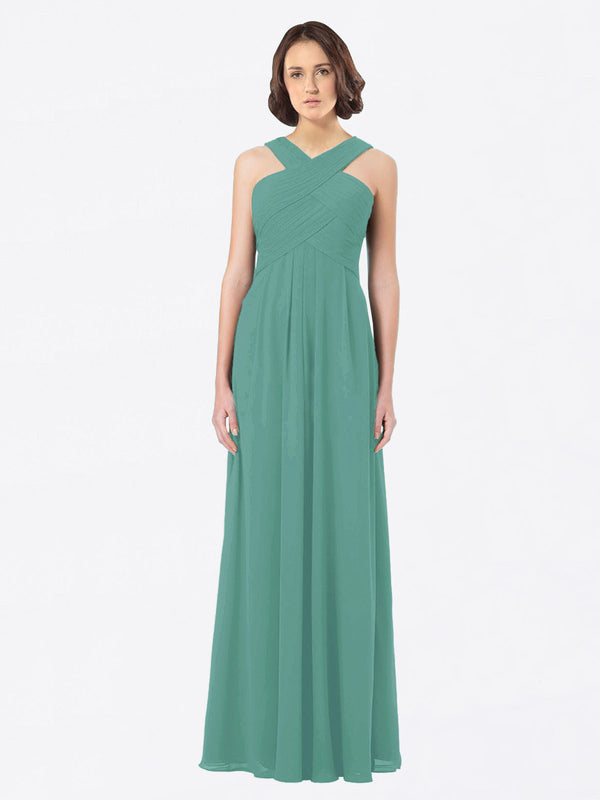 Long A-Line Off The Shoulder Sweetheart Sleeveless Icelandic Silver Chiffon Bridesmaid Dress Claire