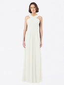 Long A-Line Off The Shoulder Sweetheart Sleeveless Ivory Chiffon Bridesmaid Dress Claire