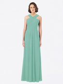 Long A-Line Off The Shoulder Sweetheart Sleeveless Jade Chiffon Bridesmaid Dress Claire