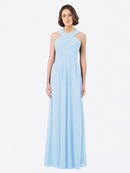 Long A-Line Off The Shoulder Sweetheart Sleeveless Light Sky Blue Chiffon Bridesmaid Dress Claire