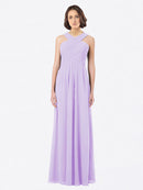 Long A-Line Off The Shoulder Sweetheart Sleeveless Lilac Chiffon Bridesmaid Dress Claire