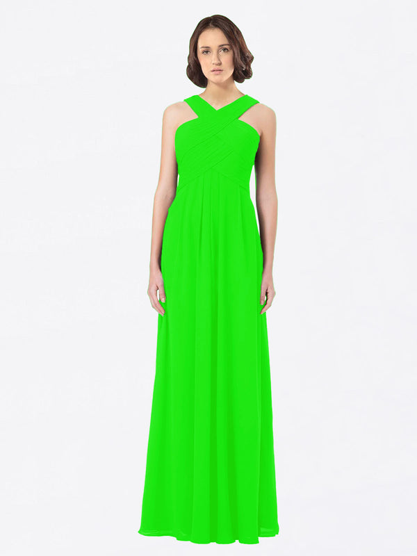 Long A-Line Off The Shoulder Sweetheart Sleeveless Lime Green Chiffon Bridesmaid Dress Claire