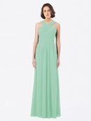 Long A-Line Off The Shoulder Sweetheart Sleeveless Mint Green Chiffon Bridesmaid Dress Claire