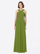Long A-Line Off The Shoulder Sweetheart Sleeveless Olive Green Chiffon Bridesmaid Dress Claire