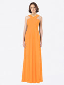Long A-Line Off The Shoulder Sweetheart Sleeveless Orange Chiffon Bridesmaid Dress Claire