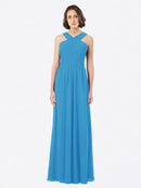 Long A-Line Off The Shoulder Sweetheart Sleeveless Peacock Blue Chiffon Bridesmaid Dress Claire