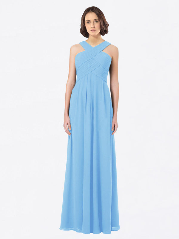 Long A-Line Off The Shoulder Sweetheart Sleeveless Periwinkle Chiffon Bridesmaid Dress Claire