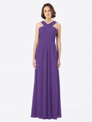 Long A-Line Off The Shoulder Sweetheart Sleeveless Plum Purple Chiffon Bridesmaid Dress Claire