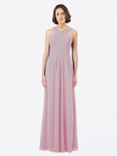 Long A-Line Off The Shoulder Sweetheart Sleeveless Primrose Chiffon Bridesmaid Dress Claire