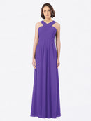 Long A-Line Off The Shoulder Sweetheart Sleeveless Purple Chiffon Bridesmaid Dress Claire