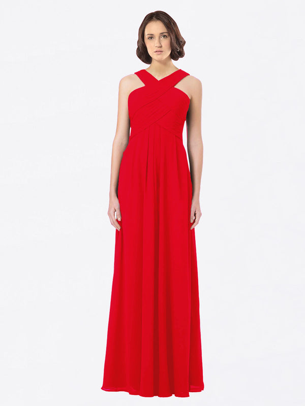 Long A-Line Off The Shoulder Sweetheart Sleeveless Red Chiffon Bridesmaid Dress Claire
