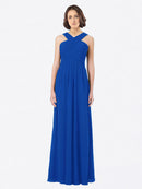 Long A-Line Off The Shoulder Sweetheart Sleeveless Royal Blue Chiffon Bridesmaid Dress Claire