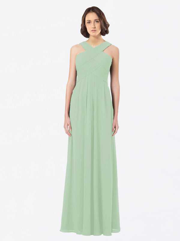 Long A-Line Off The Shoulder Sweetheart Sleeveless Sage Chiffon Bridesmaid Dress Claire