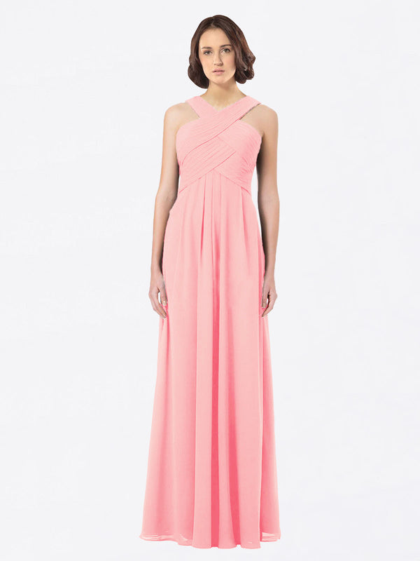 Long A-Line Off The Shoulder Sweetheart Sleeveless Salmon Chiffon Bridesmaid Dress Claire