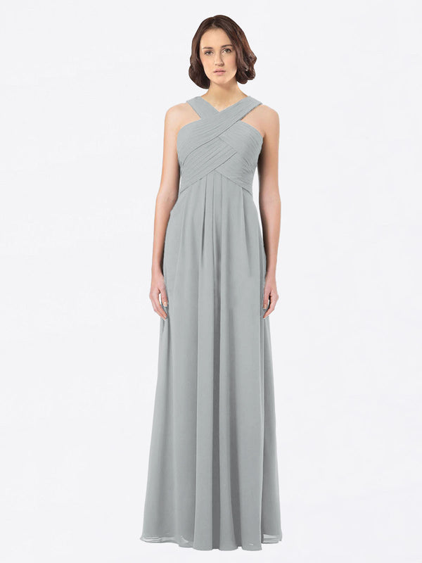 Long A-Line Off The Shoulder Sweetheart Sleeveless Silver Chiffon Bridesmaid Dress Claire