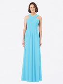 Long A-Line Off The Shoulder Sweetheart Sleeveless Sky Blue Chiffon Bridesmaid Dress Claire