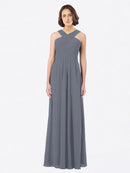 Long A-Line Off The Shoulder Sweetheart Sleeveless Slate Grey Chiffon Bridesmaid Dress Claire