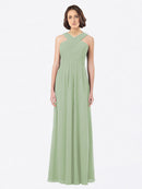 Long A-Line Off The Shoulder Sweetheart Sleeveless Smoke Green Chiffon Bridesmaid Dress Claire