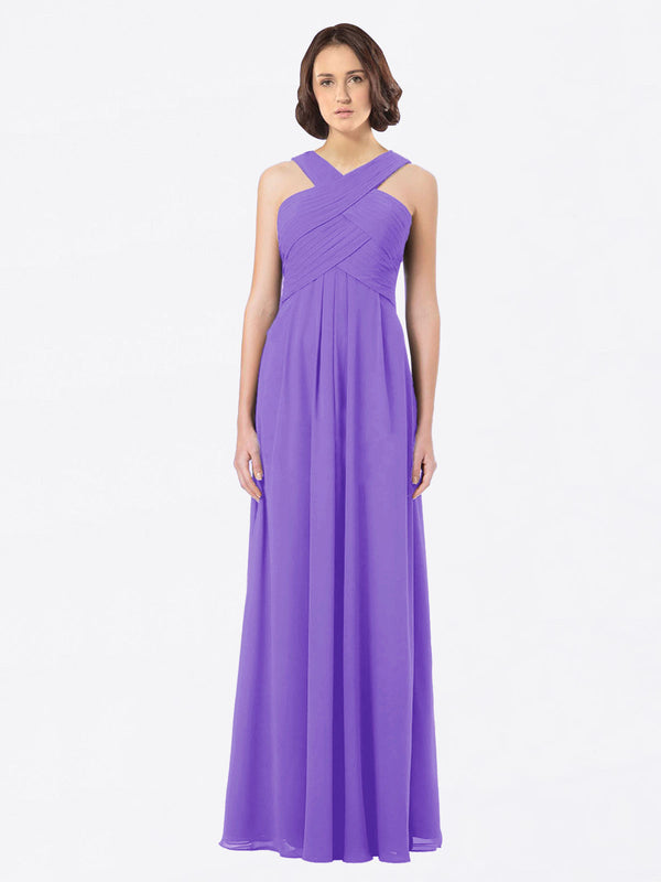 Long A-Line Off The Shoulder Sweetheart Sleeveless Tahiti Chiffon Bridesmaid Dress Claire