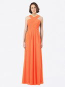 Long A-Line Off The Shoulder Sweetheart Sleeveless Tangerine Tango Chiffon Bridesmaid Dress Claire