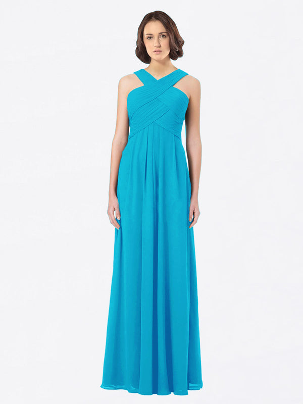 Long A-Line Off The Shoulder Sweetheart Sleeveless Turquoise Chiffon Bridesmaid Dress Claire