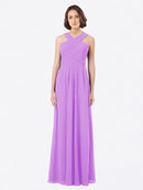 Long A-Line Off The Shoulder Sweetheart Sleeveless Violet Chiffon Bridesmaid Dress Claire
