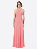 Long A-Line Off The Shoulder Sweetheart Sleeveless Watermelon Chiffon Bridesmaid Dress Claire